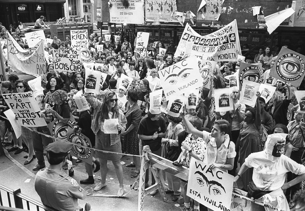 The Women's Action Coalition demonstrates at the opening of the Guggenheim Soho to protest the lack of women artists in the museum's inaugural exhibition. June 25, 1992. © Lisa Kahane