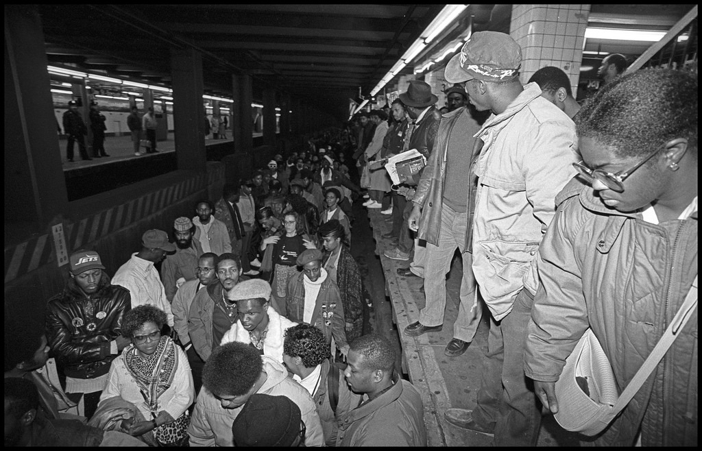 Day of Outrage demonstration at the Jay Street-Borough Hall subway station following the Howard Beach verdict on December 21, 1987 in which three defendants were found guilty of manslaughter in the death of Michael Griffith who was beaten and chased by a white mob onto a highway where he was struck by a car.  © Ricky Flores
