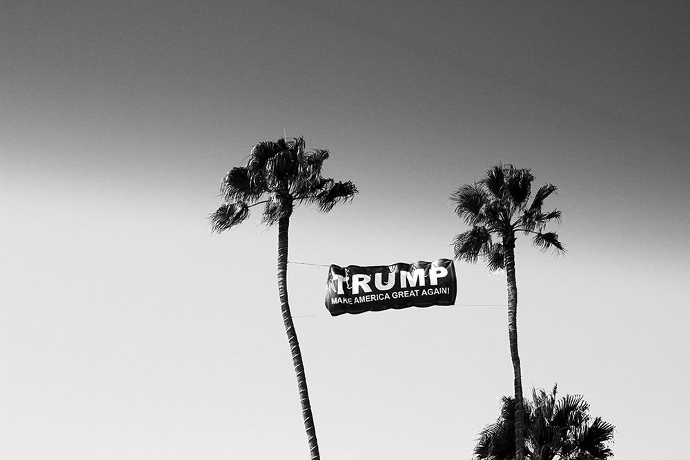 Campaign signage for Donald Trump strung between two palm trees in Huntington Beach, California.
