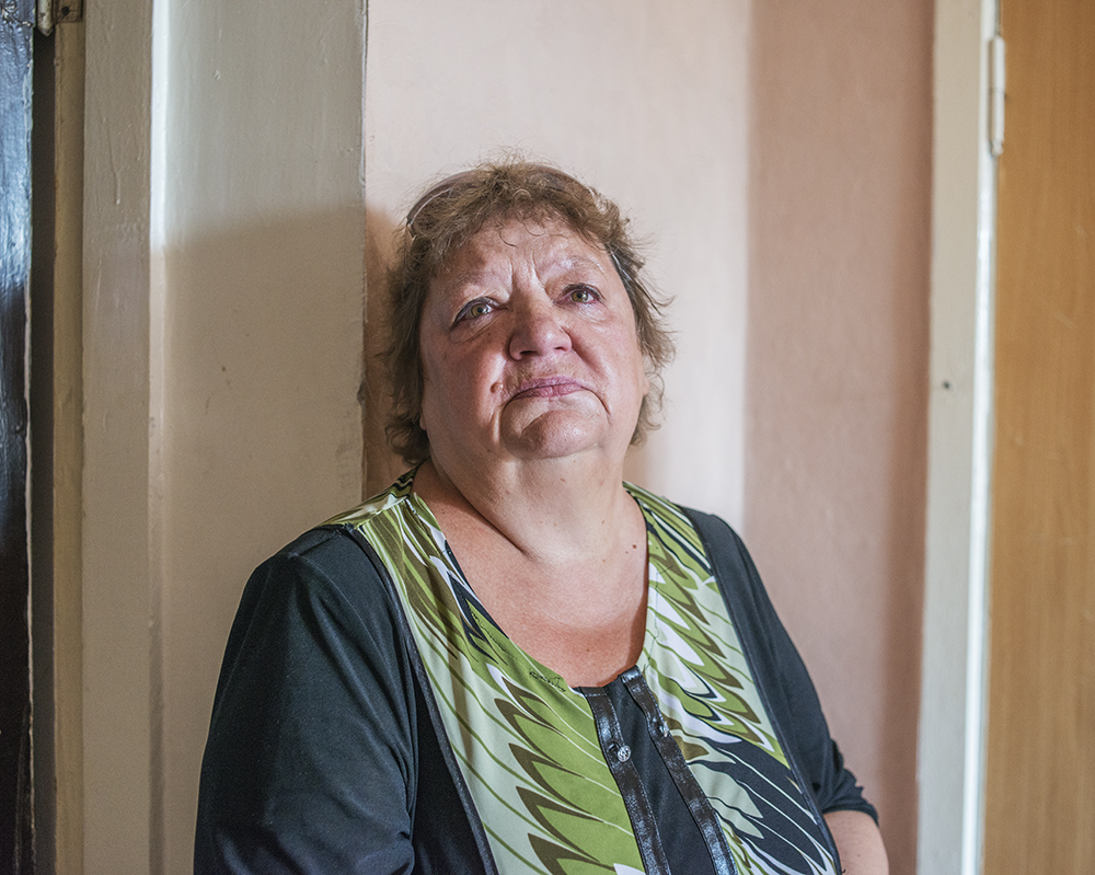 Lyubov, 64, fled shelling in Donetsk to stay in a government-assisted shelter in the city of Mariupol.