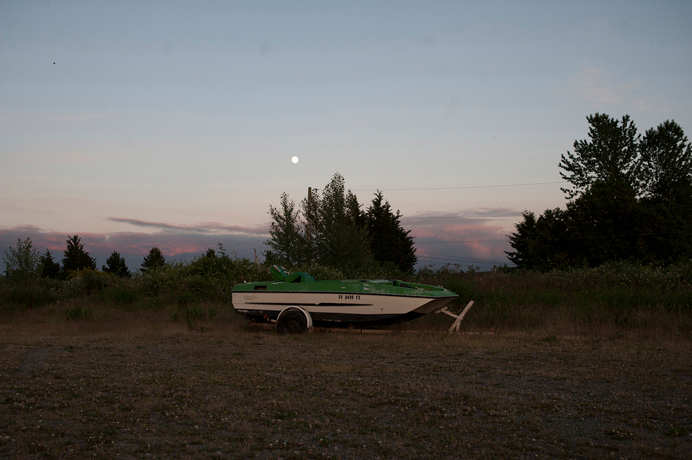 Abandoned boat along Highway 99.