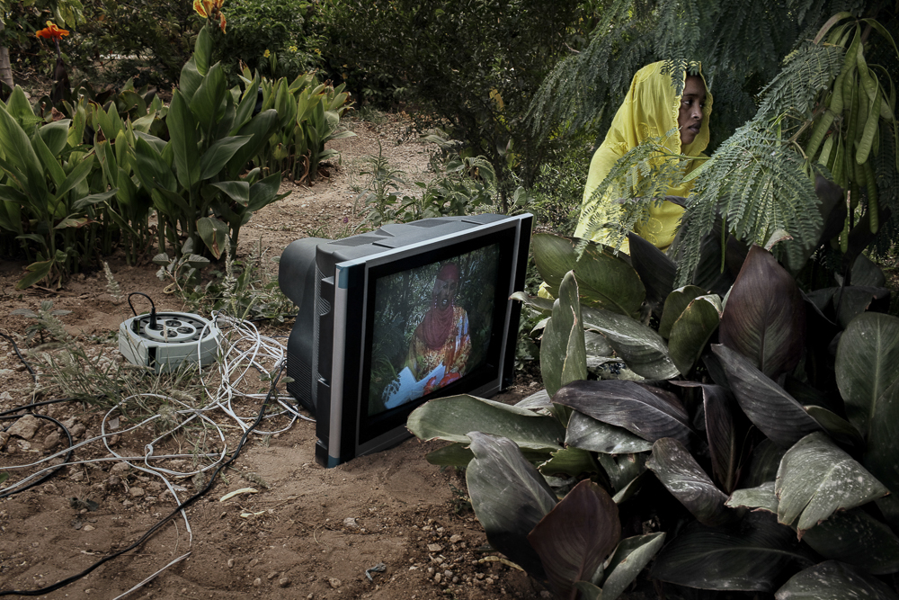 "Africa, Somaliland, Hargeisa. 03/10/2011.  Shooting a tv programme at  the ""Somaliland National TV"" studios."