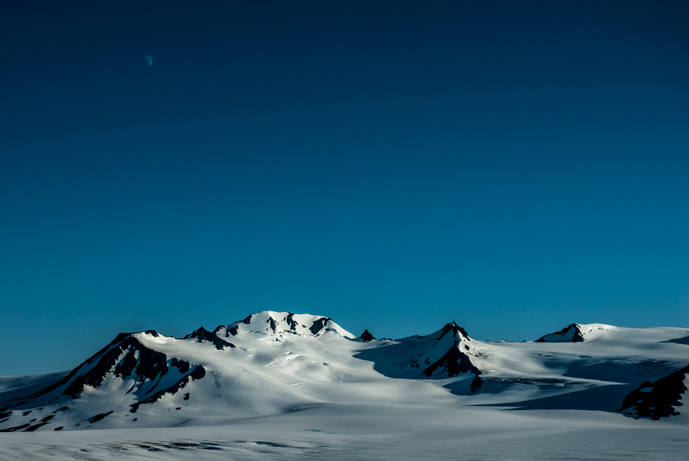 Moon over Harding icefield