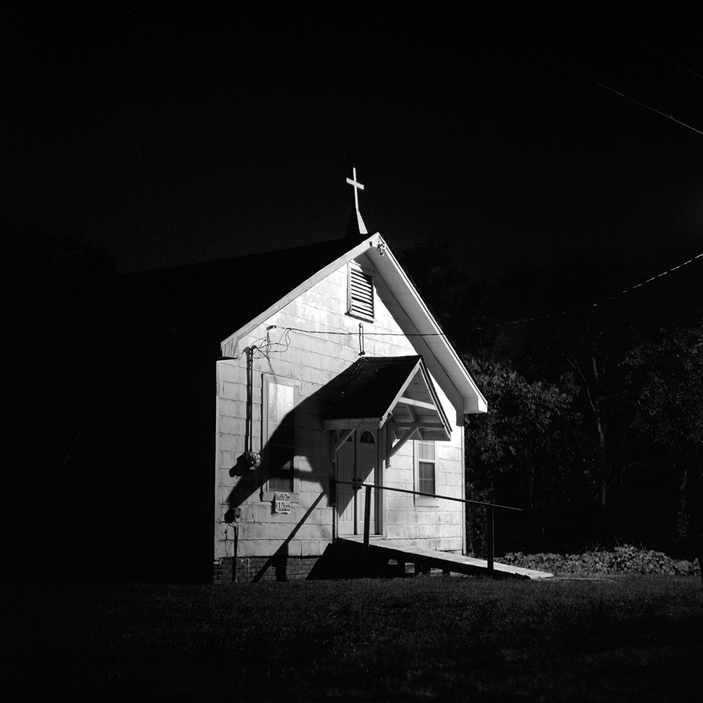 BOBO, MS - JUNE 13:  A church is illuminated at night outside of BoBo, MS, on Monday, June 13, 2011.