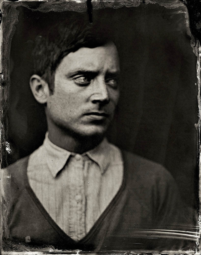 EXCLUSIVE PREMIUM RATES APPLY- Elijah Wood poses for a tintype (wet collodion) portrait at The Collective and Gibson Lounge Powered by CEG, during the 2014 Sundance Film Festival in Park City, Utah. (Photo by Victoria Will/Invision/AP)