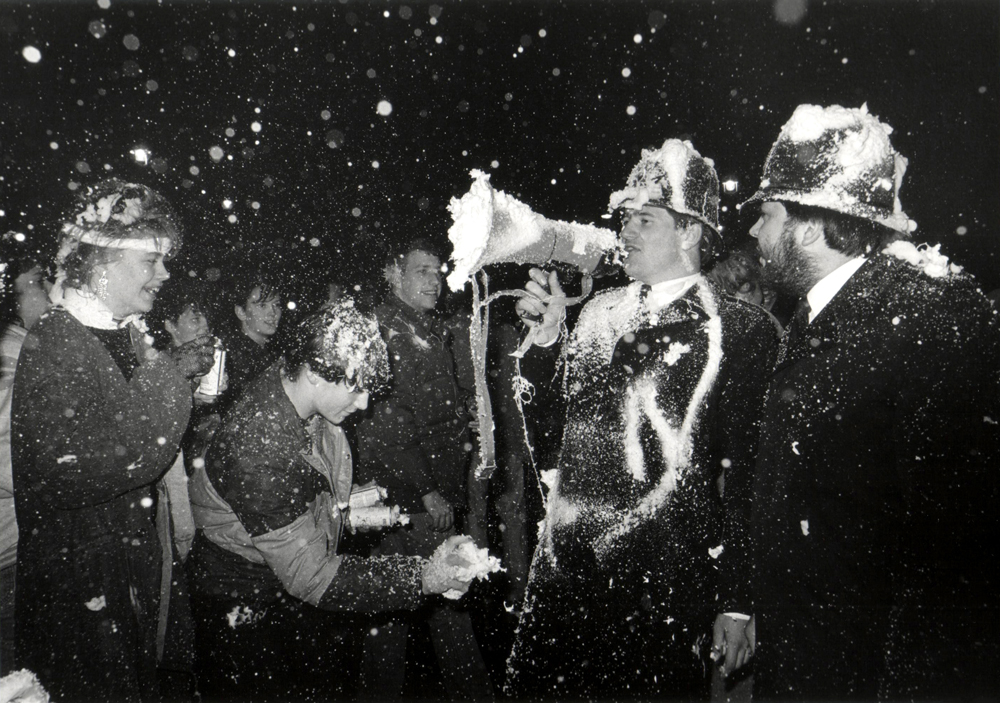 New Year's 1985, London, England British Bobbies in a Shaving Creme Fight