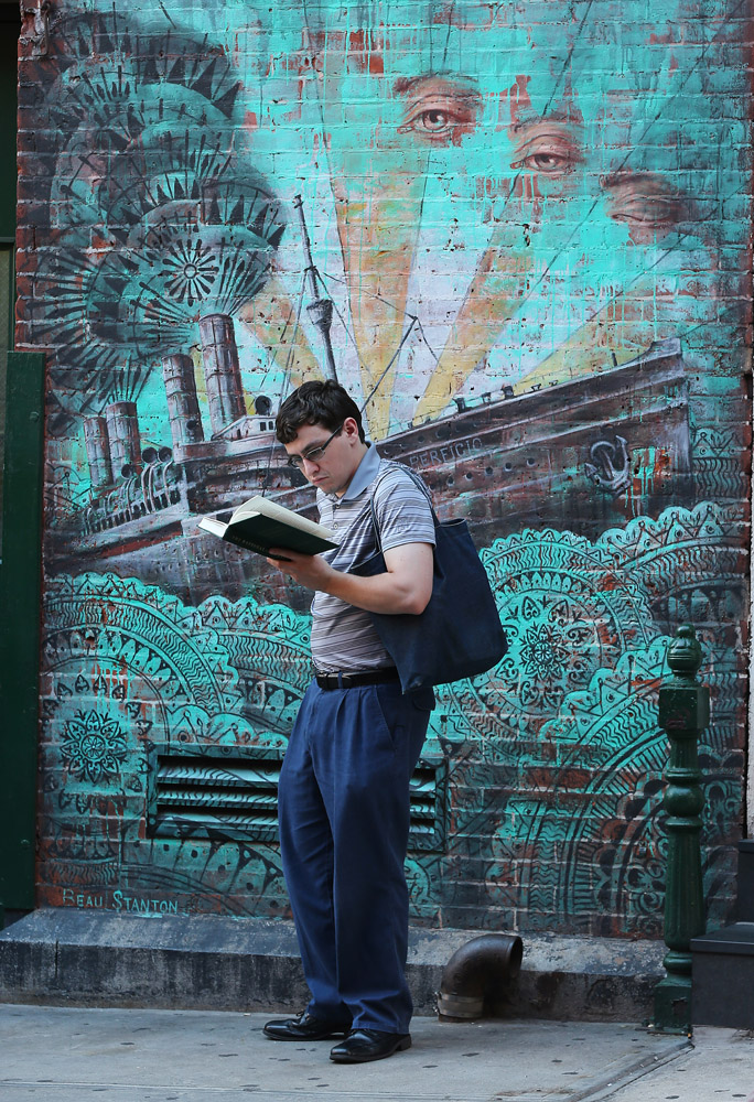 Reading Series--Mulberry Street, Little Italy, NYC August 31, 2017 Exclusive photo by Lawrence Schwartzwald