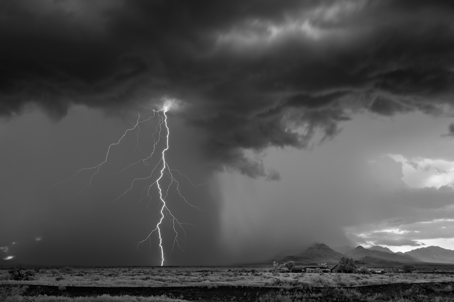 (C)Mitch Dobrowner_Lightning Storm and Homestead, 2017