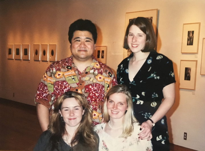 Q1_5_Amy (bottom right) pictured with her college photography professor Jon Yamashiro and fellow photo students Jen (top right) and Ann (bottom left) at our senior BFA exit exhibition at Miami University