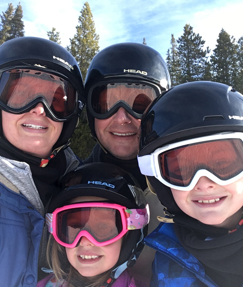 Q6_Amy with her husband and two children on the slopes of Colorado