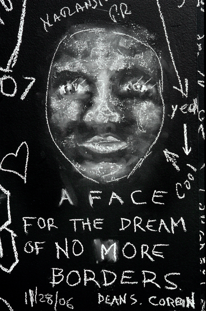 Documented: The Community Blackboard, (Detail: A Face for the Dream of No More Borders), Art Museum of the Americas, 2006.