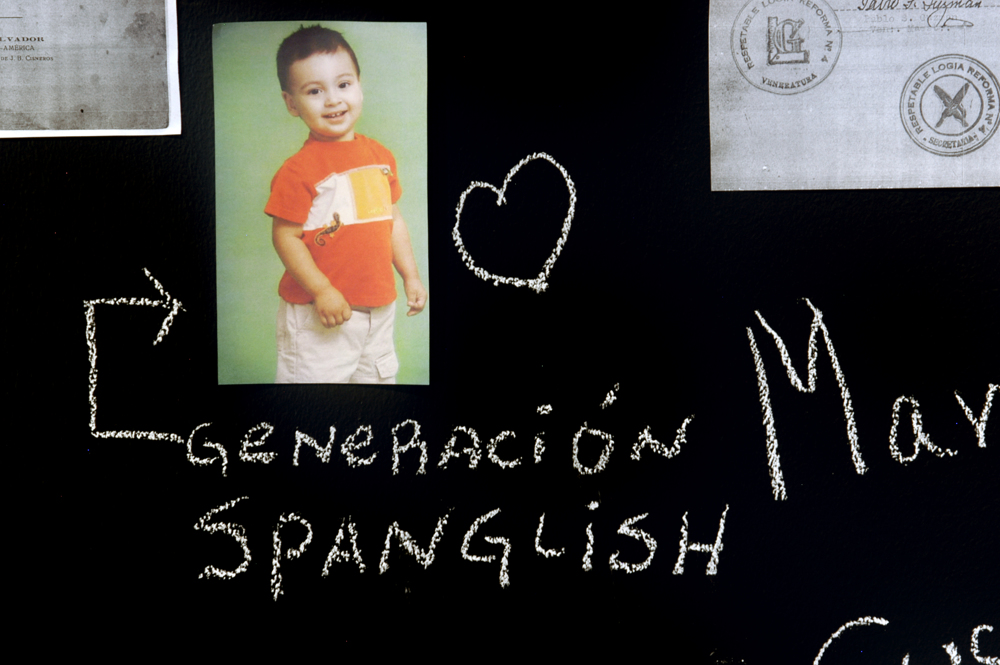 Documented: The Community Blackboard, (Detail: Generaci—n Spanglish), Art Museum of the Americas, 2006.