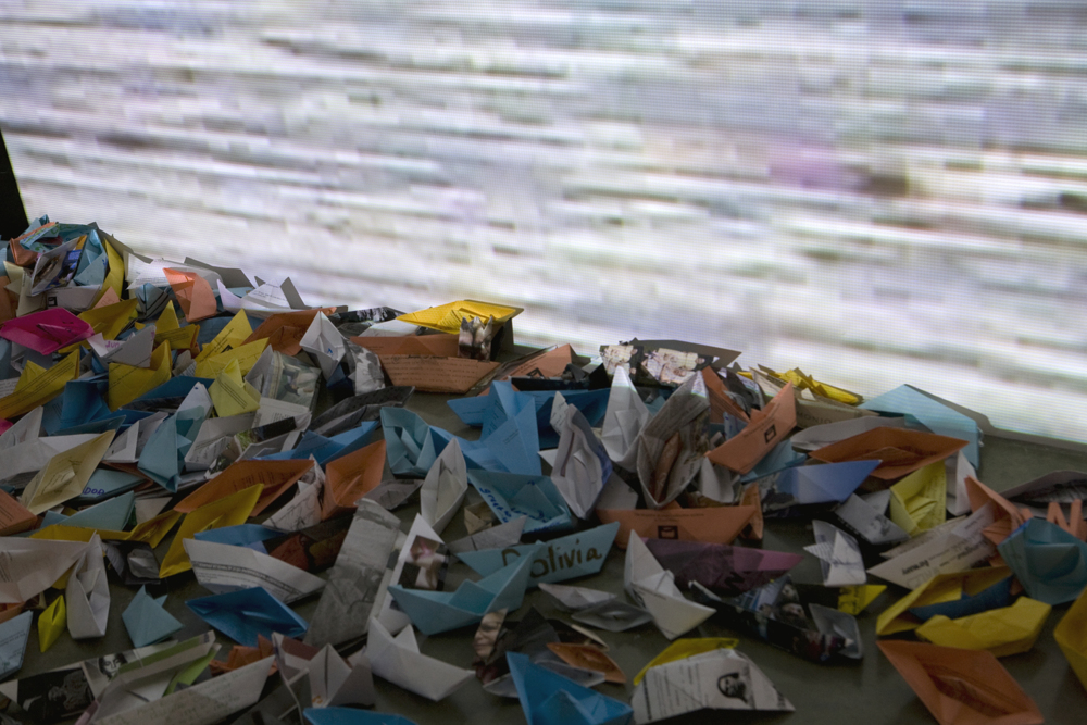 barquitos de papel/ paper boats, installation view, American University Museum, Washington, DC, 2008.