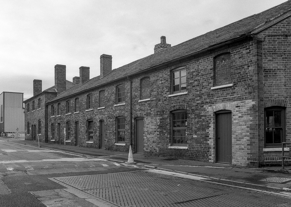 "Soho Foundry - Office Row, Foundry Lane (off), Smethwick Grade II listed buildings on the Soho Foundry site, Smethwick.  Part of a set of images from my 2011 project, ""A Picture of Smethwick', showing the listed buildings in Smethwick.  Image taken on black and white film, scanned from original negative."