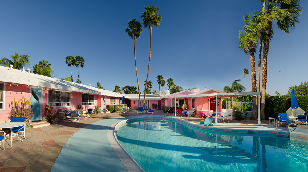 Ruby Montana's 1950's vintage and very pink Coral Sands Inn, a kitsch-themed motel in Palm Springs, California, USA. ©Rich Frishman ALL RIGHTS RESERVED