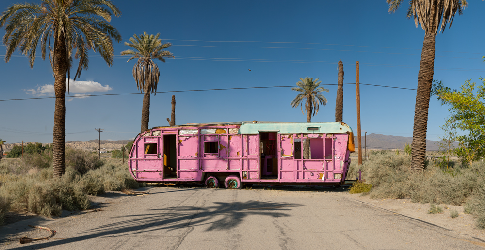 A brightly painted derelict trailer stands abandoned at the Salton Sea Marina on the east coast of the Salton Sea in Salton City. ©Rich Frishman / ALL RIGHTS RESERVED THIS IMAGE MAY NOT BE PUBLISHED, PRINTED, OR ARCHIVED, PHYSICALLY OR ELECTRONICALLY, WITHOUTH THE EXPRESSED WRITTEN PERMISSION OF THE PHOTOGRAPHER, RICH FRISHMAN