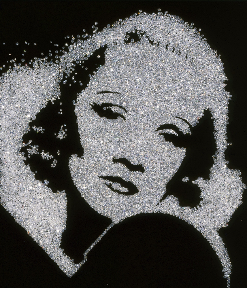 Vik Muniz (Brazilian, b. 1961) Marlene Dietrich, from the series Pictures of Diamonds, 2004 Digital C print 65.2 x 51.6 x 1.9 inches © Vik Muniz/ Galerie Xippas, Paris