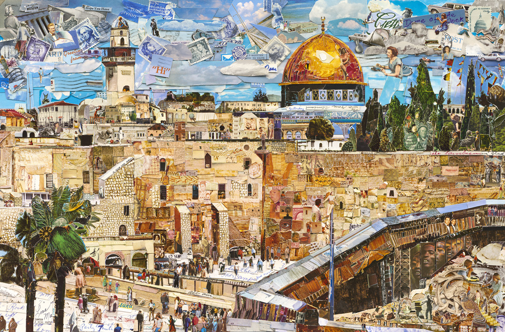 Vik Muniz (Brazilian, b. 1961) Jerusalem, from the series Postcards from Nowhere, 2015 Digital C print 74.6 x 111 x 2.3 inches © Vik Muniz