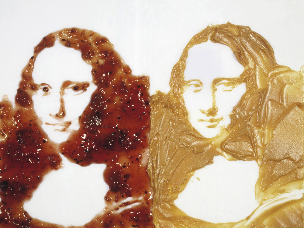 Vik Muniz (Brazilian, b. 1961) Double Mona Lisa (Peanut butter and Jelly), from the series After Warhol, 1999 Digital C Print  49.6 x 61.4 x 1.9 inches © Vik Muniz/ Galerie Xippas, Paris