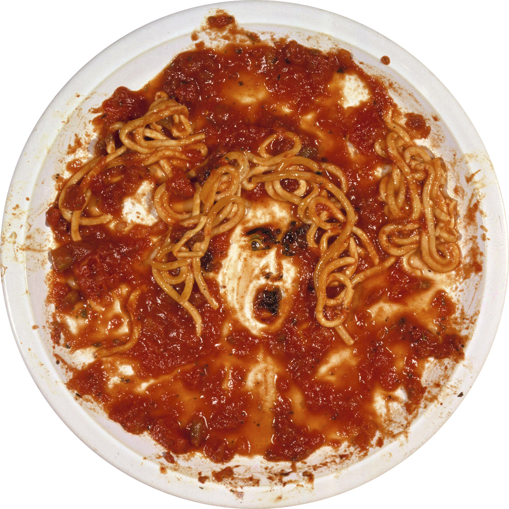 Vik Muniz (Brazilian, b. 1961) Medusa Marinara, from the series After Warhol, 1997 Cibachrome print, exhibition 12 inches diameter © Vik Muniz