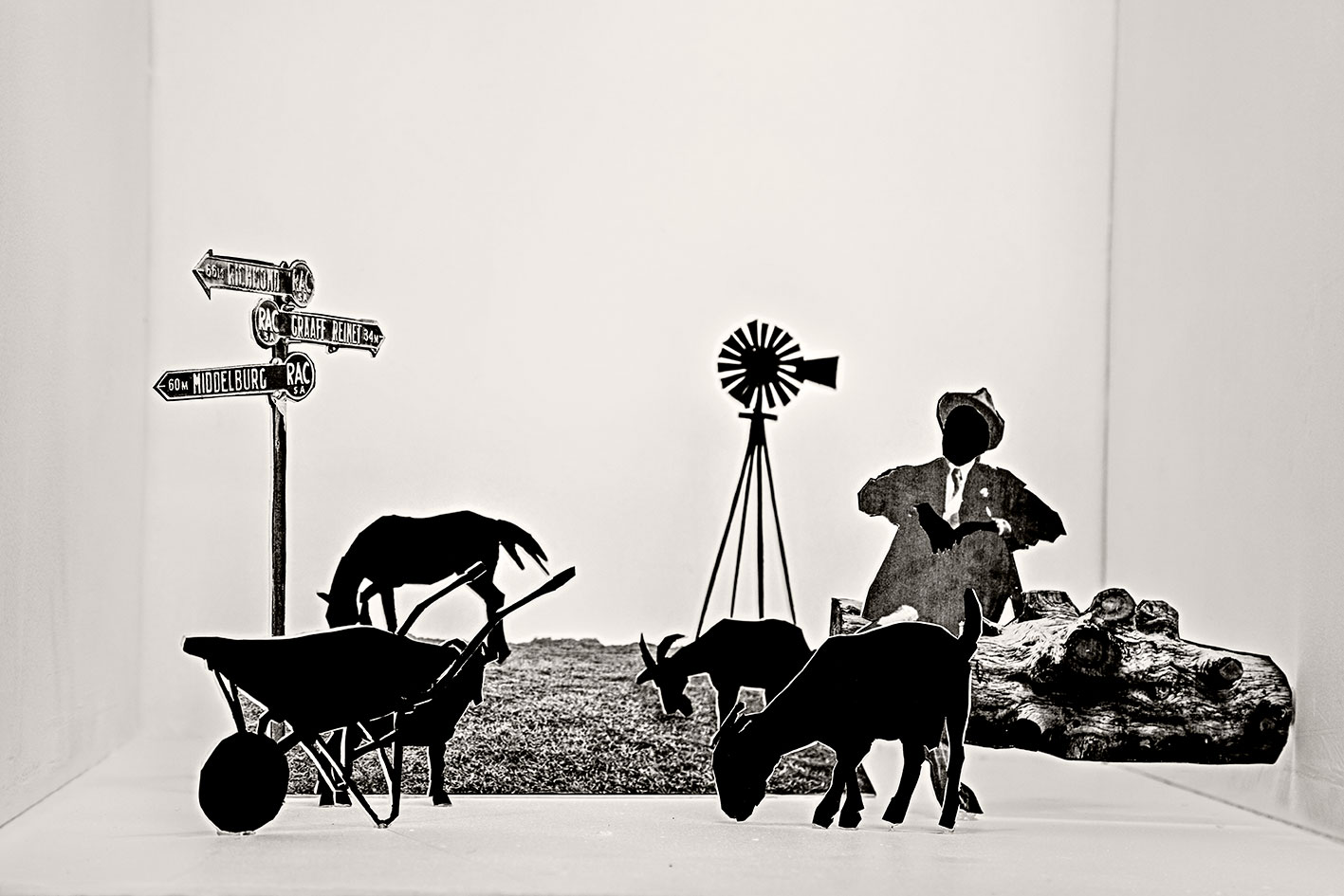 """Helen's father grazing his goats, 2018. From the series, """"Tell Tale."""" Inspired by Maverick by Lauren Beukes and Nechama Brodie. Inkjet print on cotton rag paper"""