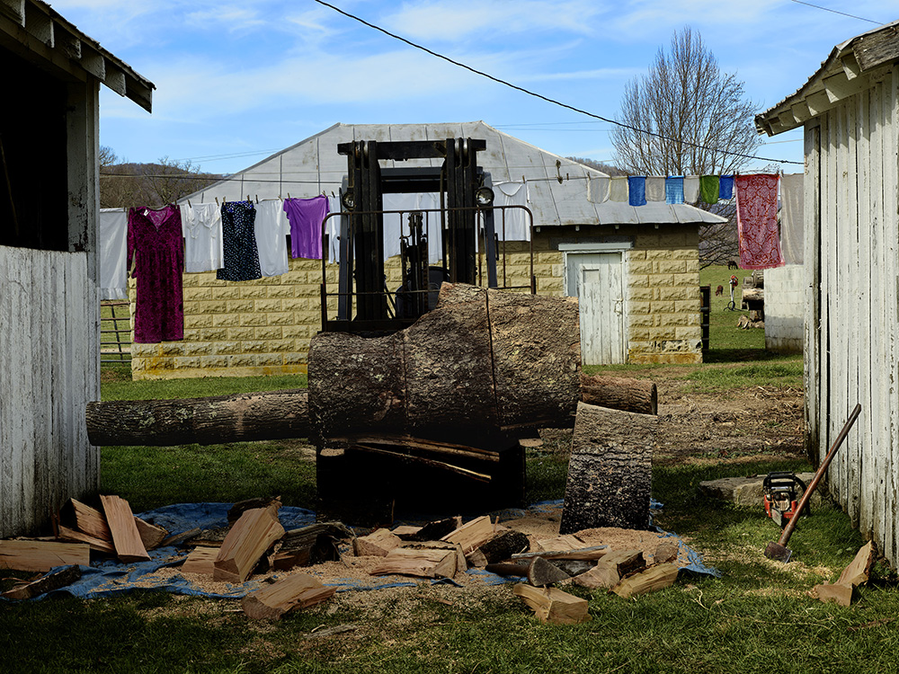12 - Clothesline with Woodpile.