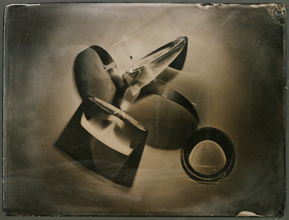 "unique photogram tintype -  collodion wet plate on powder coated titanium 6""x8"""