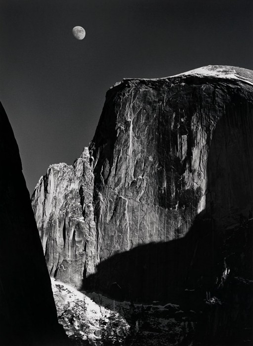 Moon and Half Dome, Yosemite Valley, California, 1960, printed 1980 Photograph by Ansel Adams Chrysler Museum of Art, gift of Dr. and Mrs. T. Lane Stokes, 82.128 © The Ansel Adams Publishing Rights Trust