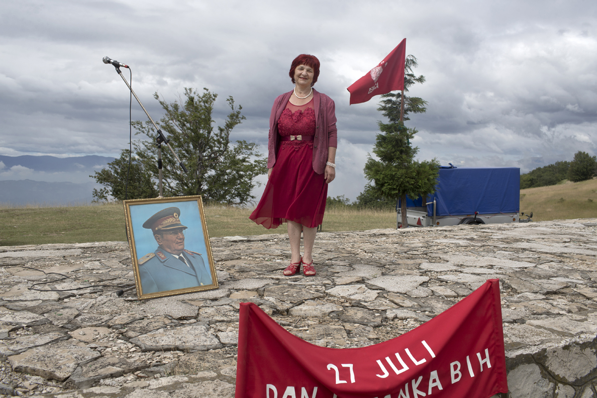 Dzavahira Grahic, 60, a Yugoslav, poses for a photograph during a commemoration ceremony, Zenica, Bosnia and Herzegovina, July 27, 2017. Grahic serves as one of the leaders of a local chapter of the Association of Anti-Fascists and WWII veterans in Zenica.