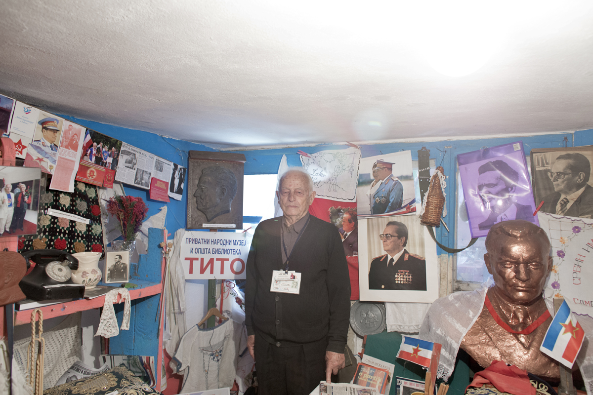Petko Popovic, 85, a Yugoslav, stands amid his collection of items related to the former country, inside his garage, Kostolac, Serbia, April 26, 2017. Popovic, a former miner and union leader, spent years collecting objects and items related to Yugoslavia, and finally opened a private museum in his garage. Visitors are extremely rare.
