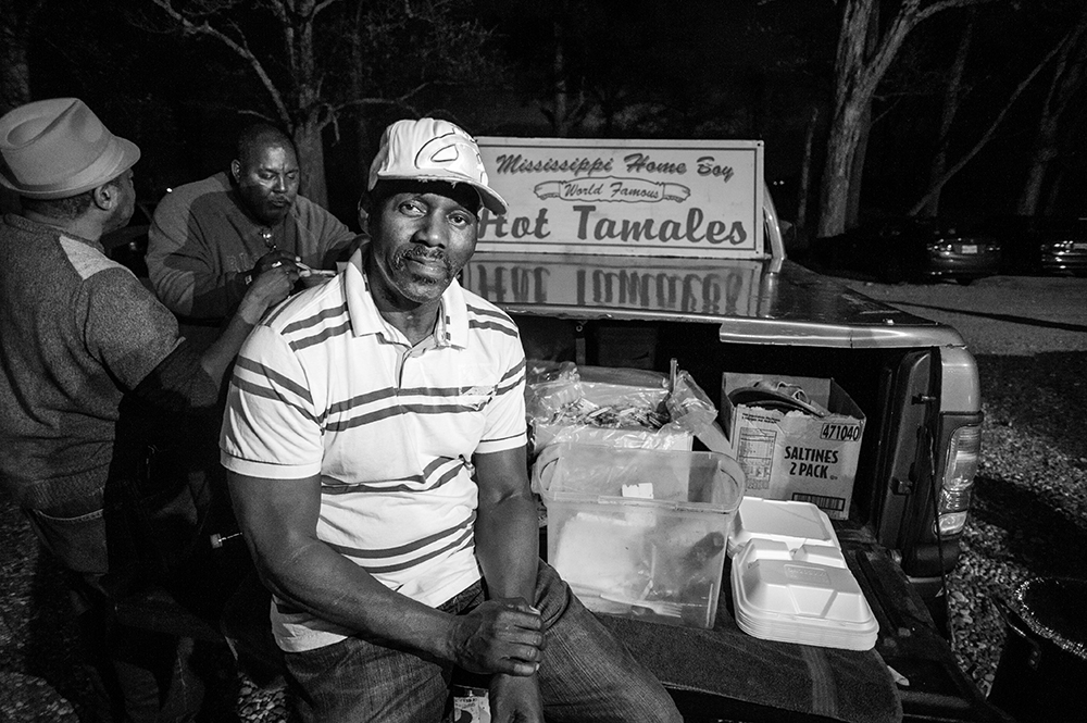 Darrell Moore, grandson to civil rights activits Amzie moore, brings hot tamales most Thursday nights to sell to patrons. (2016)