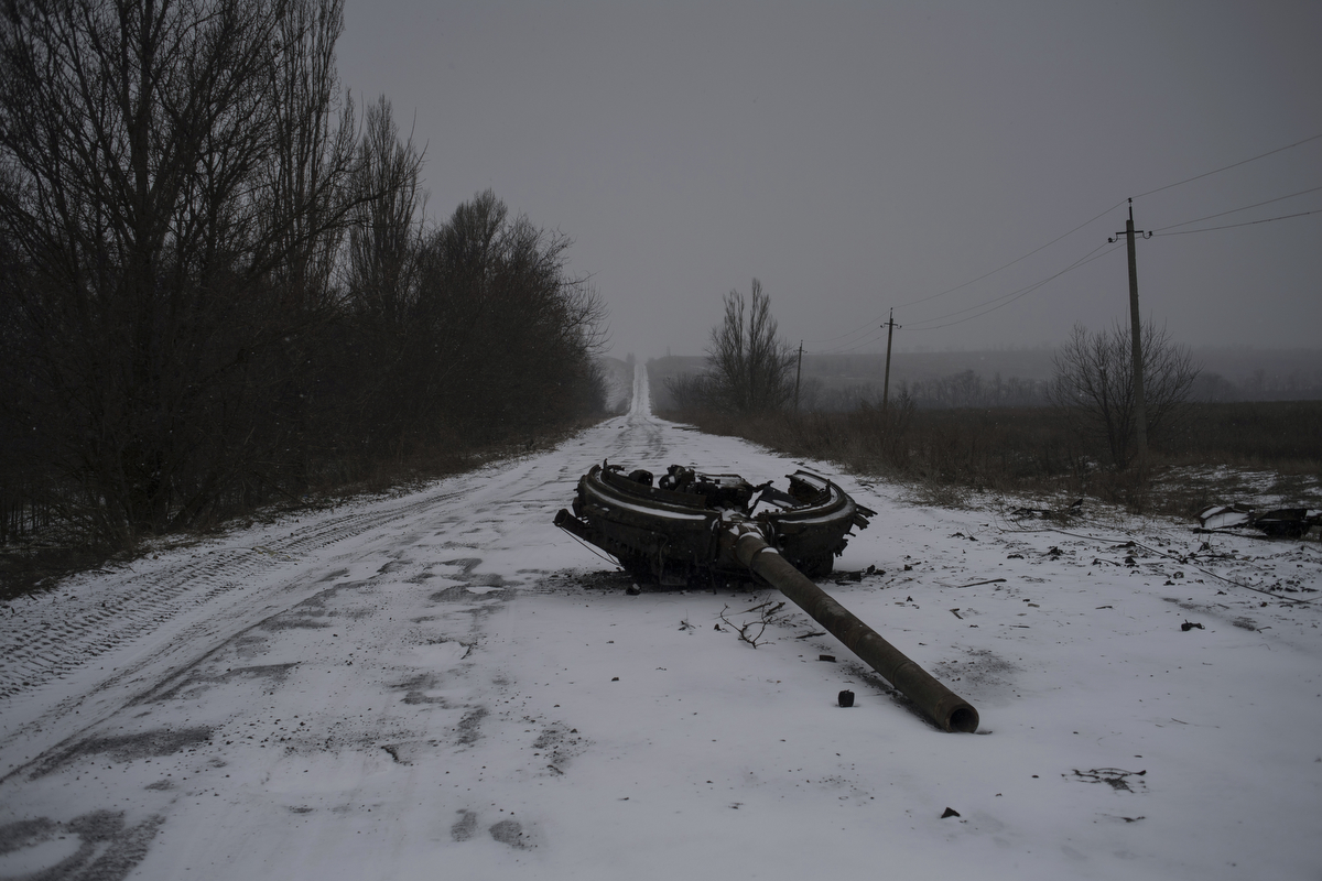 Aftermath of an attack on the village of Kominternovo, Donetsk Region.