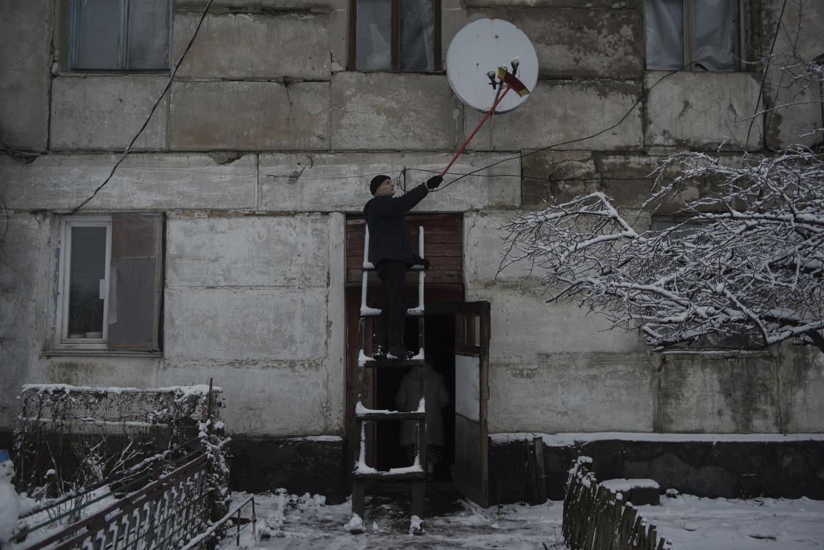 The settlement Molodezhnoye located near the front line. Lugansk region, Ukraine