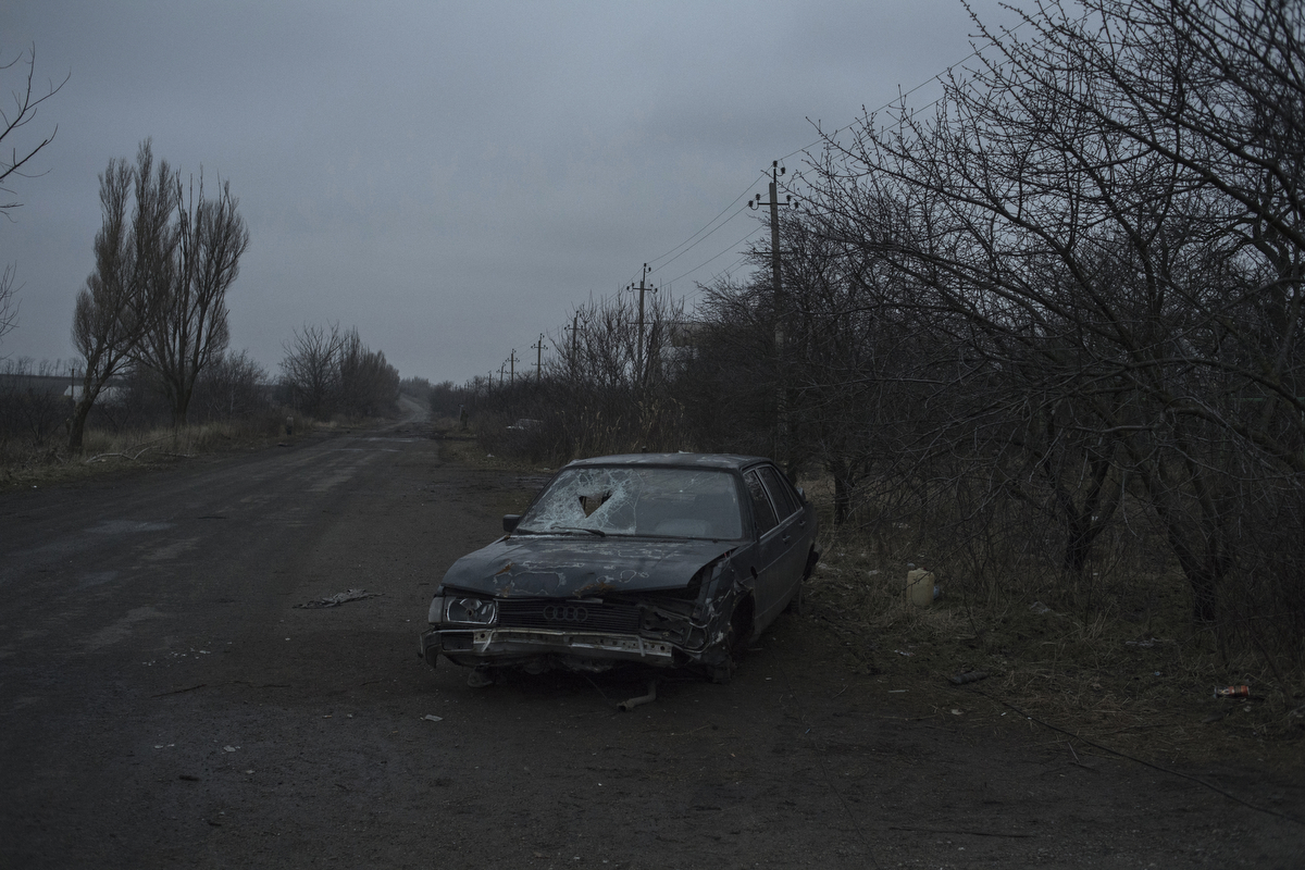 Aftermath of an attack on the village of Kominternovo. Donetsk region, Ukraine