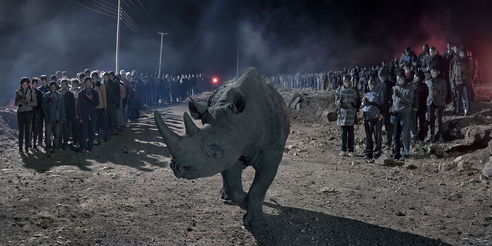 RIVER OF PEOPLE WITH RHINO, 2018