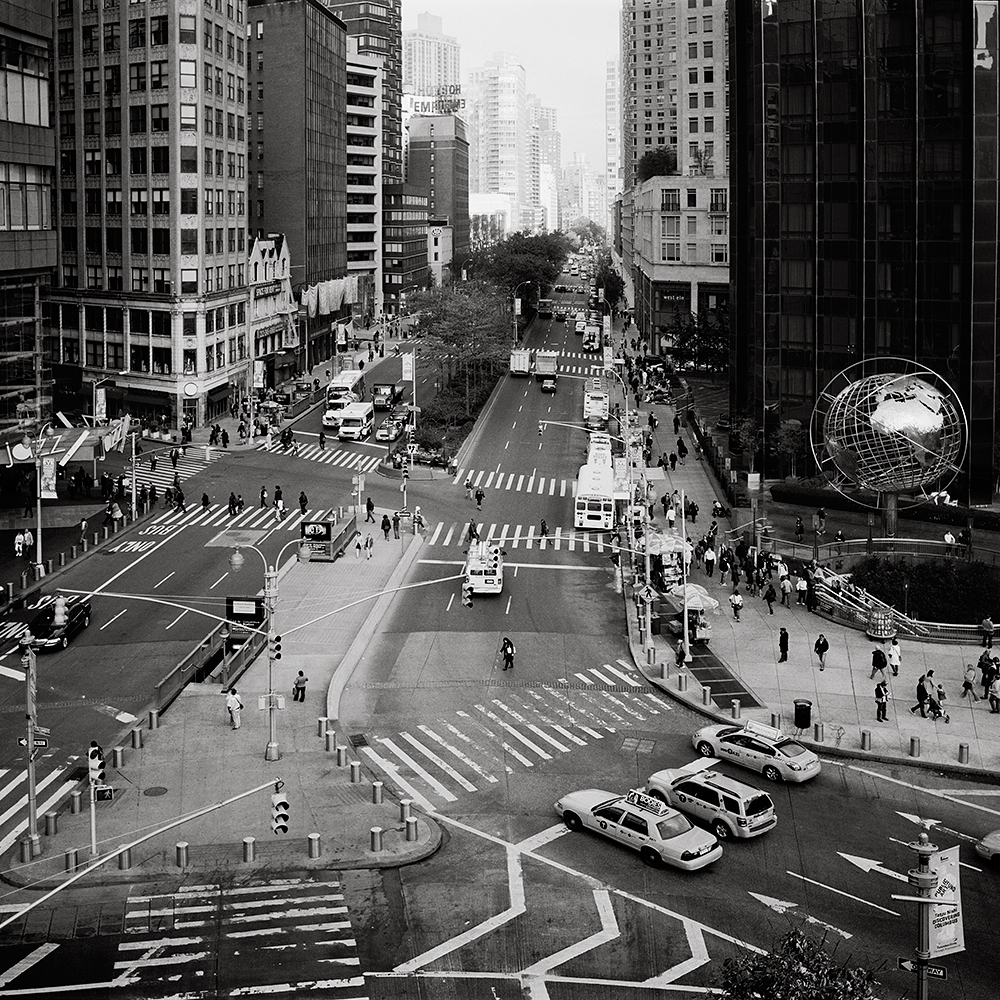 Looking down Broadway from Columbus Circle, including Trump International Hotel and Tower in 2012.