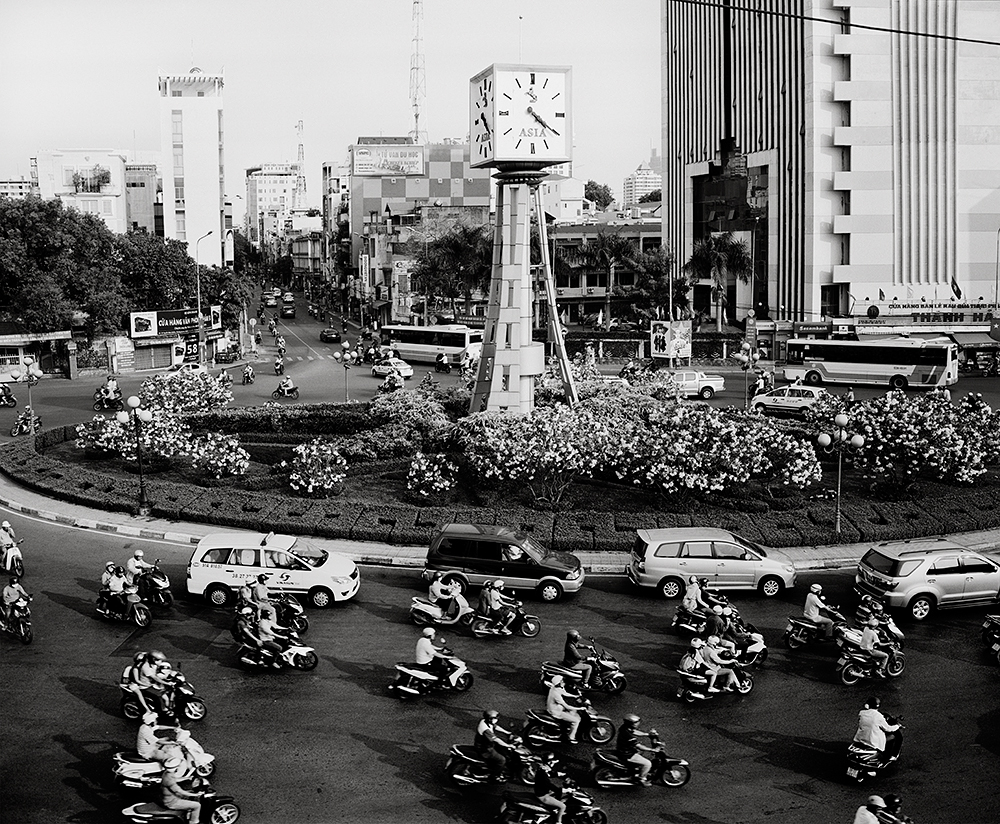 evening traffic around Clocktower, Ho Chi Minh City, Vietnam