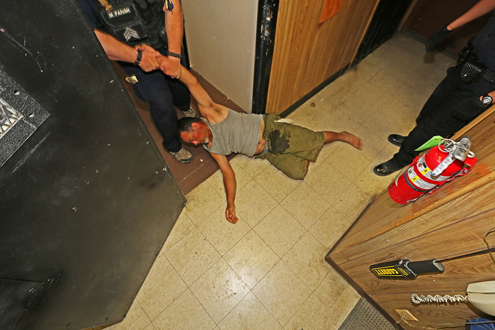"Screaming ""motherfuckers, motherfuckers,"" this drunk field hand fought police and had to be dragged into the holding cell. Released the next morning in time for work, he had no memory of the previous night."