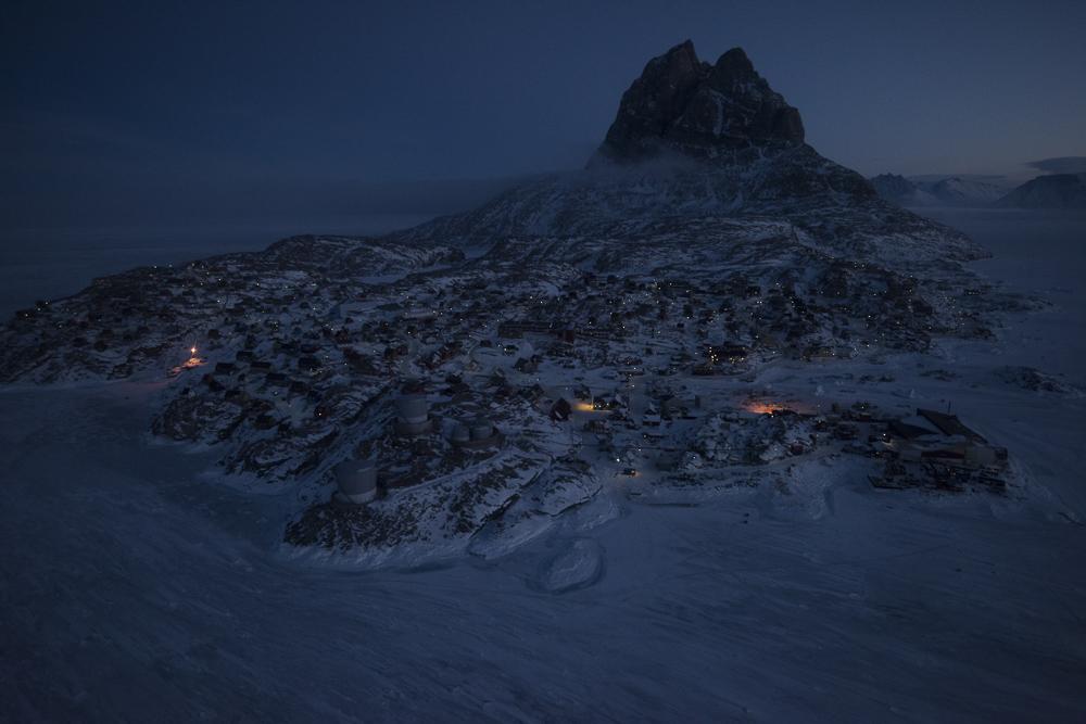 Ummannaq, Greenland, fjord, Winter, Uummannaq Mtn, night