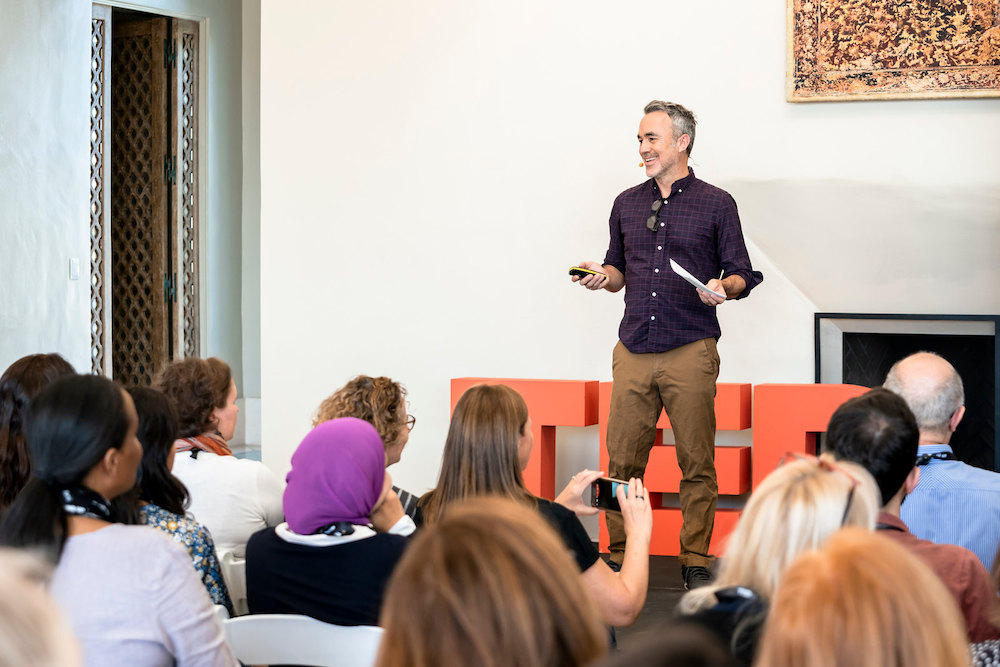 David Rosenberg speaks at the TEDx Workshop at TEDWomen 2018: Showing Up, November 28-30, 2018, Palm Springs, California. Photo: Marla Aufmuth / TED