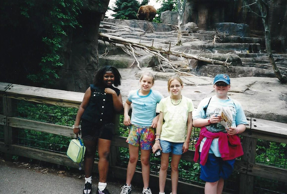 Tae'tianna, Sunny, Lauren D., and Lauren H. photographed on a field trip to the Indianapolis zoo, c. 2002.
