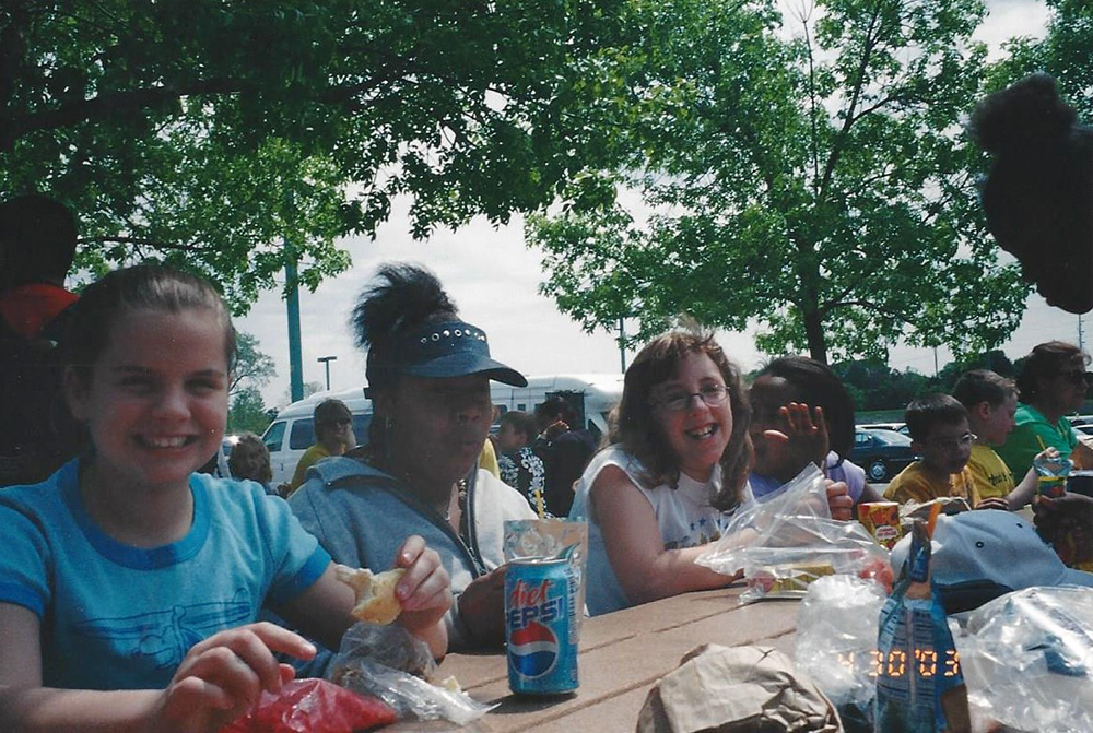 Sunny, Nesa, Colleen, on a class picnic, c. 2002.