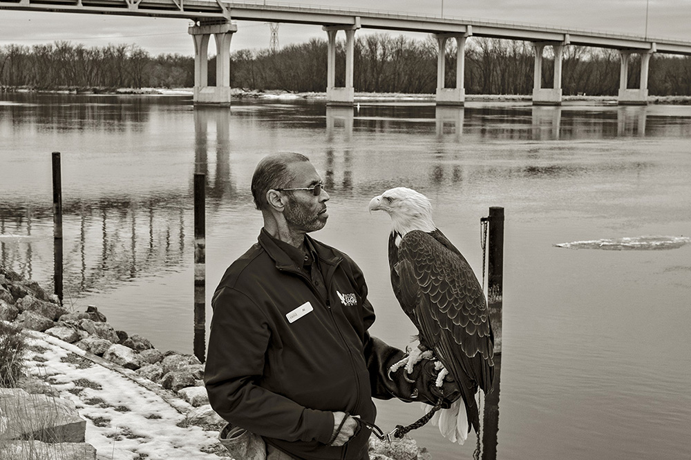 79, National Eagle Center, Wabasha, MN, Al Cooper with and Angel