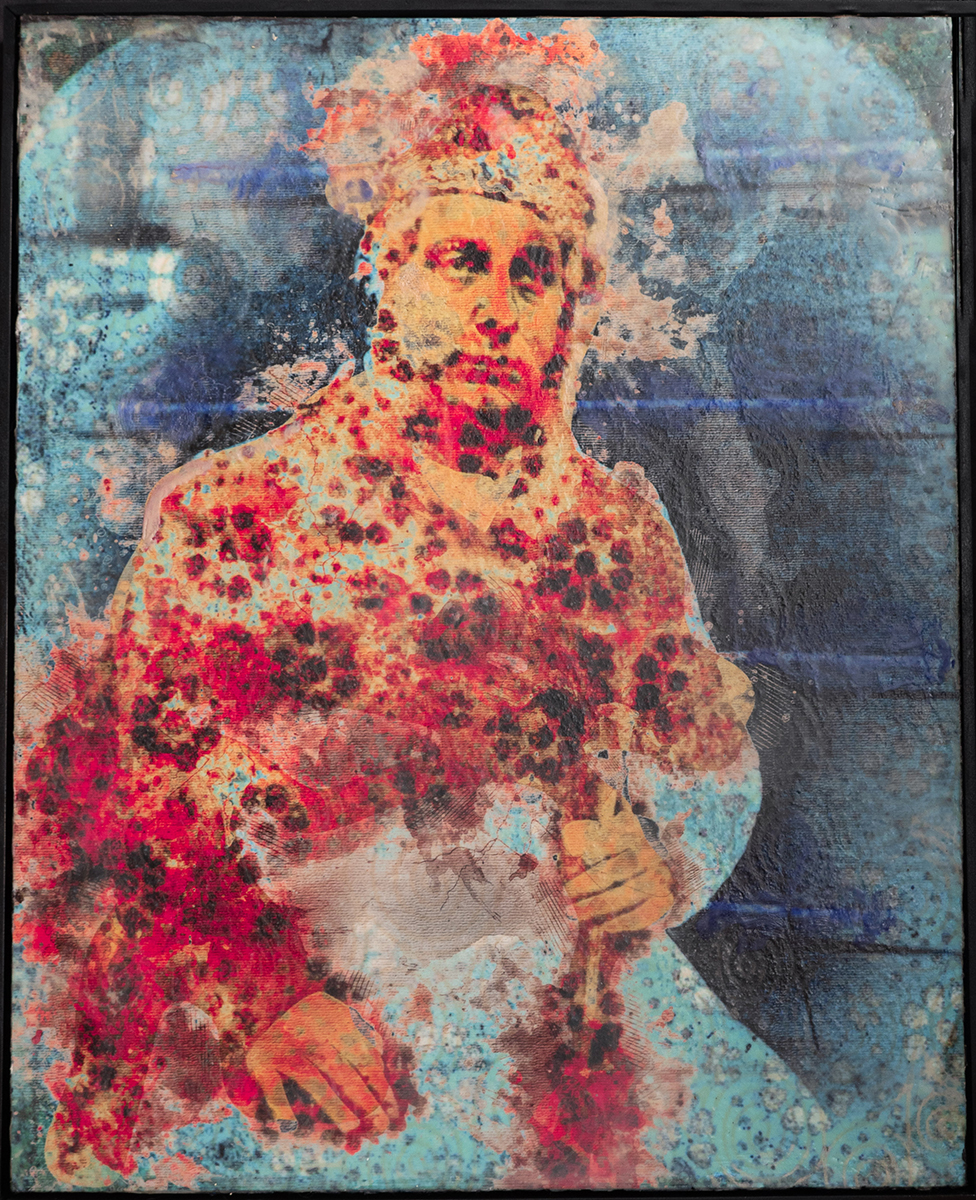 Red Coat, 2019  16x20 Collage on Panel, Rice Paper, Encaustic