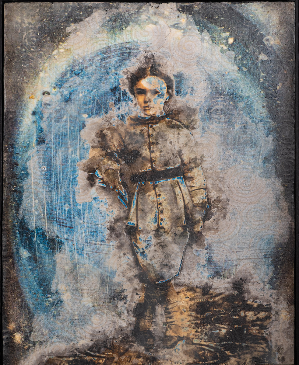 Blue Boy, 2019 16x20 Collage on Panel, Rice Paper, Encaustic