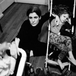 Anna, Helena, Laura, strollers, New York 1998