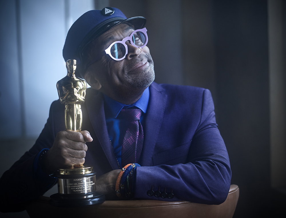 Spike Lee with his Best Adapted Screenplay Academy Award for BlacKkKlansman at the VF Oscar Party in Los Angeles, CA, February 24, 2019