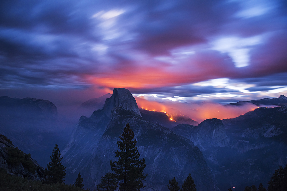 Palley, Stuart-Fire Over Half Dome Meadow Fire 2014 1000px