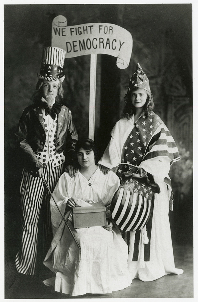 We Fight For Democracy  1918 {Uncle Sam, Columbia,  and Democracy