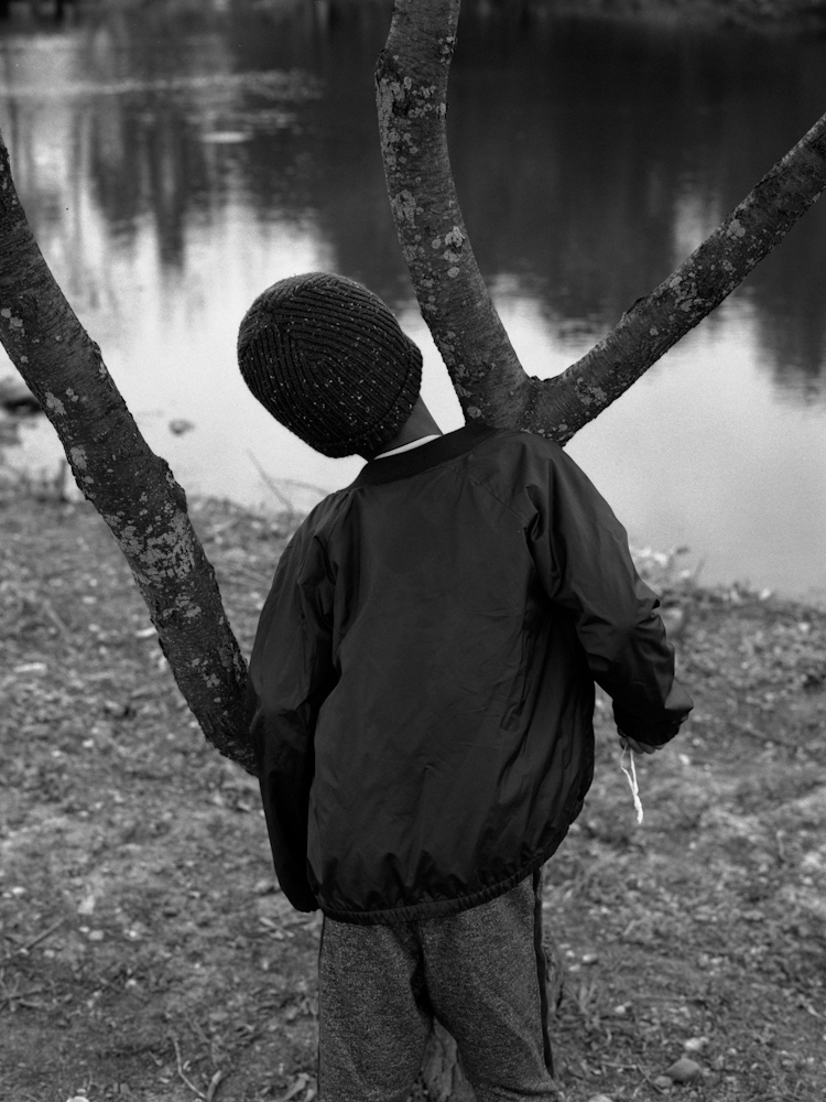 A boy stares in a pond by the park